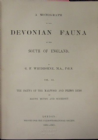 DEVONIAN FAUNA OF THE SOUTH OF ENGLAND BY WHIDBORNE. 1892 - 1907.